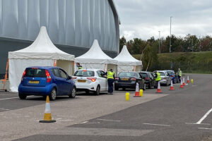 Granta Medical Practices Drive thru Flu clinic at Duxford IWM